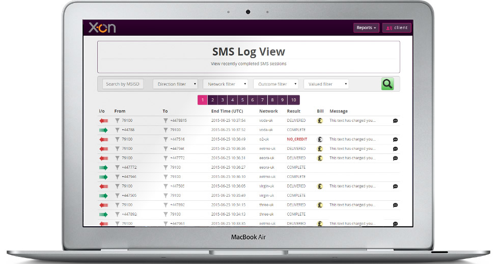 Report - SMS Log View